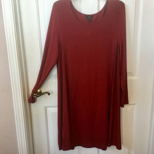 Intro Red Long Sleeve Stretch Jersey Dress